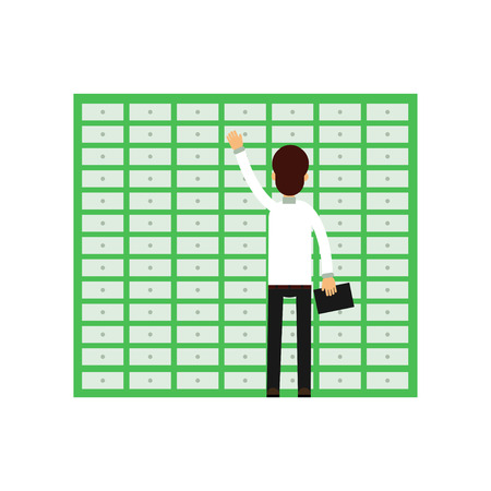 Professional man worker opening banking cell. Safe deposit boxes. Cartoon male character in white shirt and black pants holding clipboard in hand, back view. Isolated vector illustration in flat style