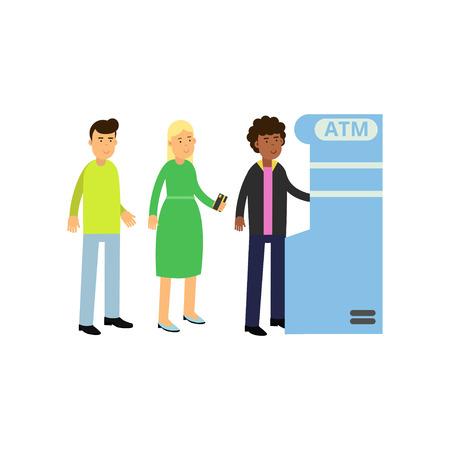 ATMからお金を引き出す黒い巻き毛の男 若い女性と男が現金自動預け払い機の近くに並んで立っている。銀行のテーマ。フラットベクトルの人物文字 写真素材 - 92035461