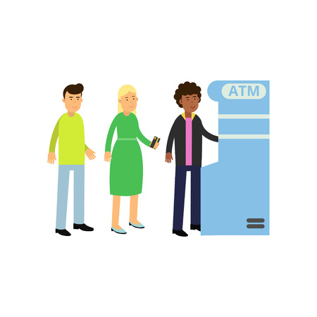 Black curly-haired guy withdrawing money from ATM. Young woman and man standing in queue near cash machine. Bank theme. Flat vector people characters Stock Illustratie