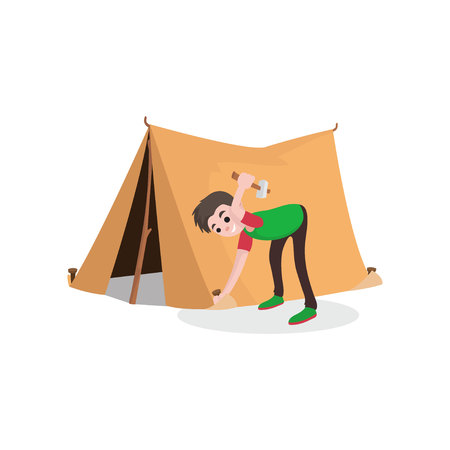 Young smiling teenager boy setting up tourist tent. Summer travel, camping or hiking concept. Spring outdoor activity. Flat style cartoon character pitching tent. Vector illustration isolated on white