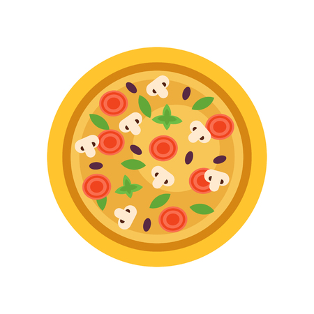 Italian pizza with different ingredients mushrooms, olives, tomatoes and green basil leaves. Street food design element for cafe menu. Flat vector illustration isolated on white background.