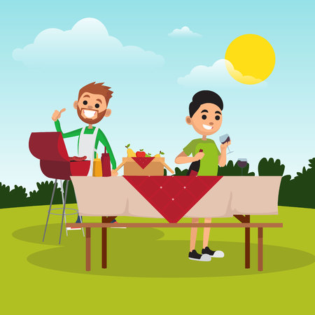 Father and son preparing for barbecue summer party in park. Dad fries sausages on grill. Boy fills glass with wine. Cartoon people characters. Family recreation in open air. Flat vector illustration. Vettoriali
