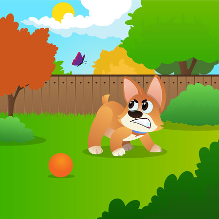 Little corgi standing on green meadow and growling at flying butterfly. Cartoon dog playing in backyard. Colorful nature landscape with trees, fence and blue sky. Domestic animal. Flat vector design.
