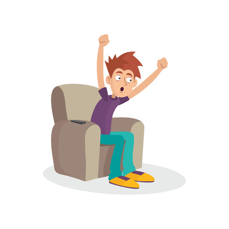 Teenager boy sitting on armchair watching television. TV addiction. Mass media dependency. Cartoon male character showing joyful face expression. Vector illustration in flat style isolated on white. Illustration