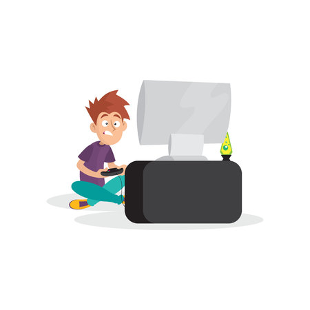 Teenager boy playing in video game. Cartoon boy character sitting with legs crosses in front of computer with joystick in hands. Bad habit illustration. Illustration