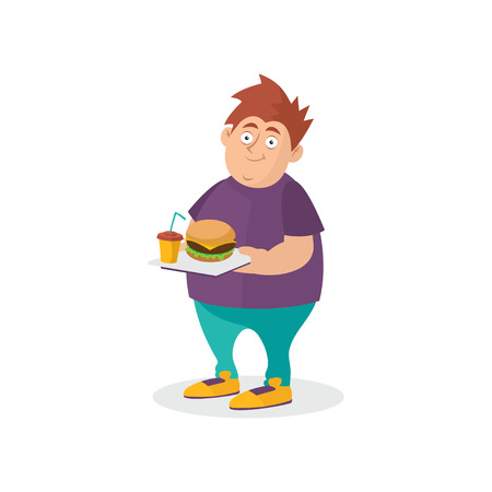 Young fat guy holding hamburger and sweet drink on tray. Fast food addiction. Cartoon man character in t-shirt and jeans. Unhealthy lifestyle illustration.