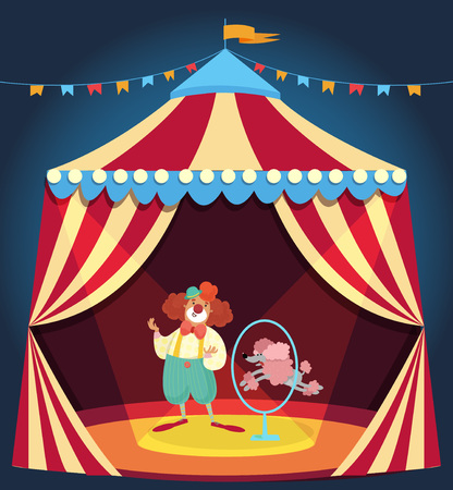 Clown showing performance with poodle dog jumping through hoop. Circus tent decorated with colorful bunting. Entertainment concept. Flat vector design isolated on dark blue background with gradient. Illustration