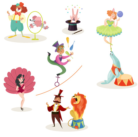 Characters in circus performers and animals in different actions. Carnival show concept. Collection of decorative elements for poster, ticket, flyer or invitation. Isolated flat vector illustration. Illustration