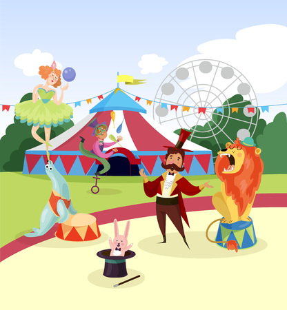 Amusement park with circus artists and marquee, ferris observation wheel and green trees on background. Cartoon characters of people and animals near colorful tent. Vector illustration in flat style. Illustration