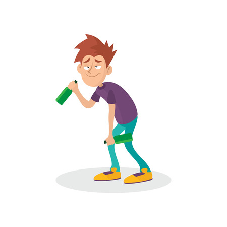 Young drunk guy with bottles in hands. People suffering from alcoholism. Alcohol addiction. Bad habit. Cartoon teenager character. Flat vector illustration