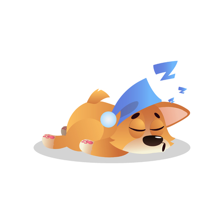 Sweetly sleeping corgi in cute blue hat with pompom. Cartoon puppy character in flat style. Human s best friend. Domestic animal. Graphic design for kids print or sticker. Isolated vector illustration Illustration