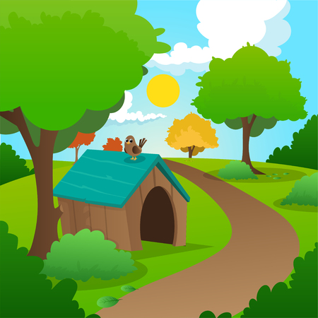 Colorful nature landscape with green grass, trees, bushes and wooden dog house. Sunny summer background with blue sky and white clouds. Flat vector design Stock Illustratie