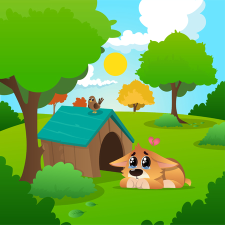 Lonely corgi with tears on eyes lies near his wooden house. Summer nature landscape with blue sky, white clouds, grass, trees and bushes with green foliages. Cartoon vector illustration in flat style.
