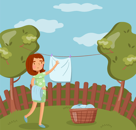 Young woman hanging wet clothes after washing on the line outdoors vector Illustration, cartoon style Ilustração