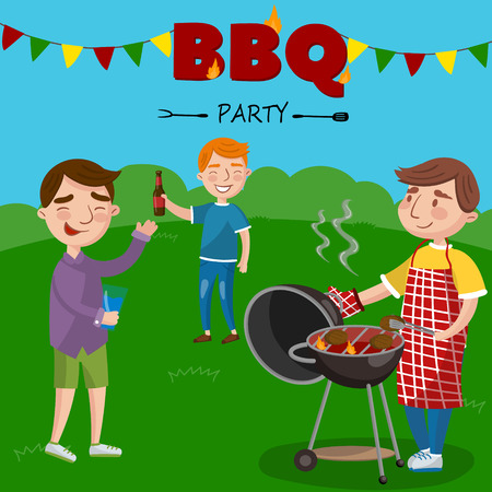 Smiling man preparing barbecue outdoors for his friends, BBQ boys party vector Illustration, cartoon style