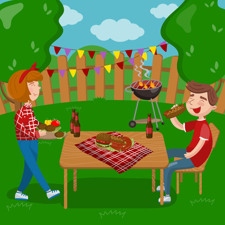 Young people cooking and eating bbq while sitting in the garden, barbecue party in holiday cartoon vector Illustrations on a white background Illustration