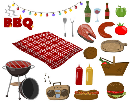 Barbecue and grill collection set, picnic food symbols, drinks, steaks from fish and meat, accessories for a bbq party cartoon vector Illustrations on a white background Illustration
