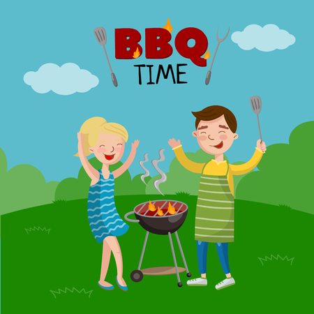 Barbeque time banner, cartoon style poster with people in the lawn.