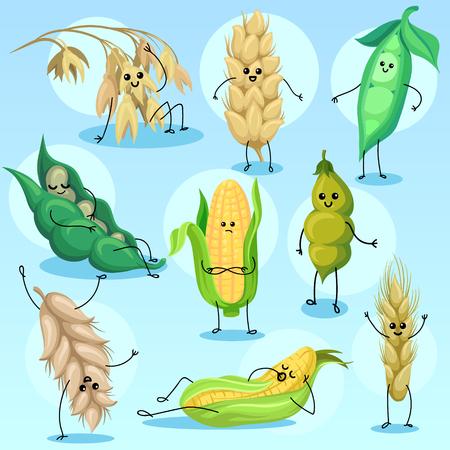 Ensemble de caractères de blé, d'orge, de haricots, de pois et de maïs, illustrations vectorielles de céréales et de légumineuses