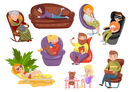 Different people sitting and lying on different chairs, sedentary lifestyle cartoon vector Illustrations on a white background