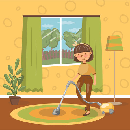 Smiling young brunette woman cleaning living room with vacuum cleaner, vector Illustration, cartoon style Illustration