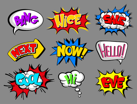 Comic speech bubbles with text set, bang, nice, sale, next, now, hello, cool, love, hi, sound effect cloud vector Illustrations on a gray background.