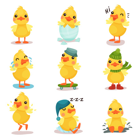 Cute little yellow duck chick characters set, duckling in different poses and situations cartoon vector Illustrations Vectores