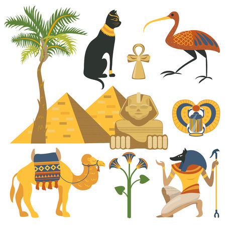 Egypt set, ancient Egyptian religion and cultural elements vector Illustrations