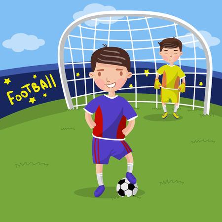 サッカー選手、スポーツフィールドベクトルイラスト、漫画スタイルでサッカーをしている少年  イラスト・ベクター素材