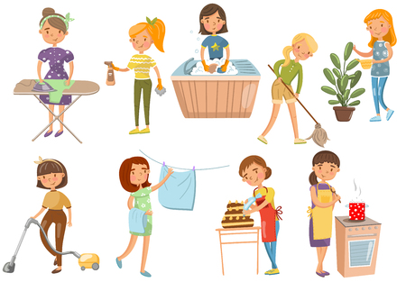 Junge Frau, die verschiedene Hausarbeiten, Hausfrau, Reinigung, Kochen, Waschen, Bügeln, Kochen, Karikaturvektorillustrationen auf einem weißen Hintergrund macht Vektorgrafik