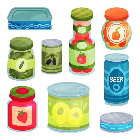 Canned goods, tinned food in a cans, glass jars and metal container cartoon vector Illustrations on a white background Vettoriali