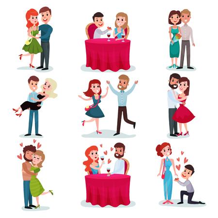 Conjunto de parejas en el amor, amantes felices en fecha, en la cena romántica, abrazos y baile de vectores de dibujos animados Ilustraciones sobre un fondo blanco.