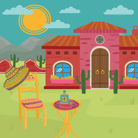 Mexican villa, traditional Mexican house and yard. Colorful vector illustration.
