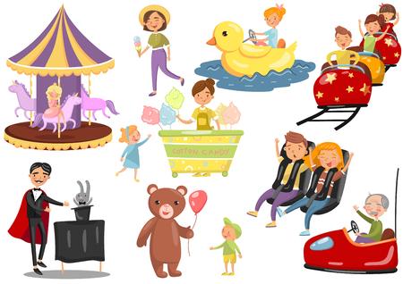 Gelukkige mensen plezier in pretpark set, carrousel, reuzenrad, achtbaan, auto, goochelaar cartoon vectorillustraties op een witte achtergrond