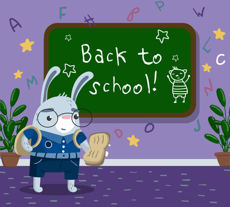 Cute funny little rabbit animal student in school uniform standing next to blackboard in the classroom, back to school concept vector illustration, cartoon style. Ilustração