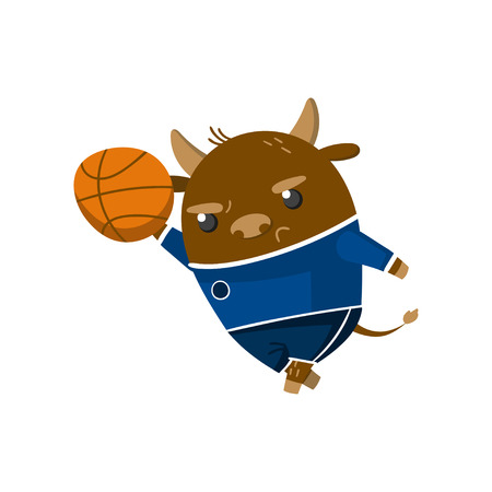 Cute funny little bull student playing basketball, pupil animal in a blue school uniform, back to school concept vector Illustration on a white background