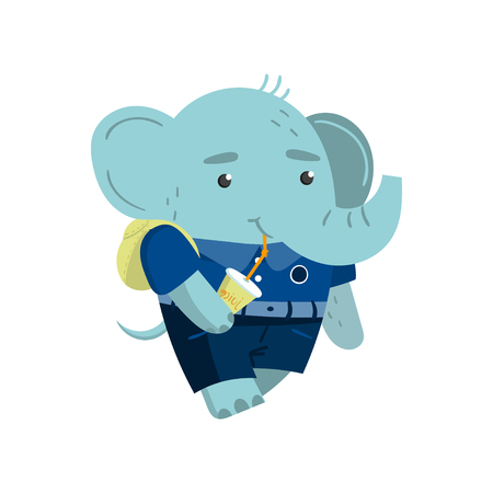 Cute funny little elephant student drinking soda, pupil animal in a blue school uniform, back to school concept vector Illustration on a white background