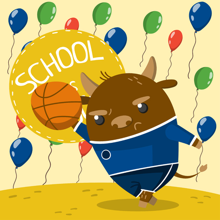 Cute little bull in school uniform playing basketball on the background with colorful balloons. School is cool vector illustration, colorful design element for poster or banner.