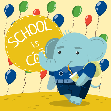 Cute little elephant in school uniform drinking soda on the background with colorful balloons. School is cool vector illustration, colorful design element for poster or banner.