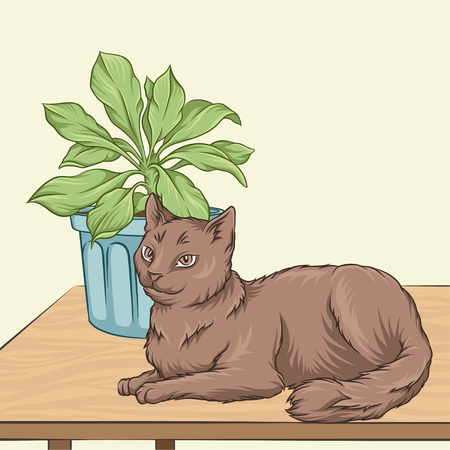 Cute brown cat pet animal lying on a wooden table, room interior vintage style home vector Illustration, hand drawn design element