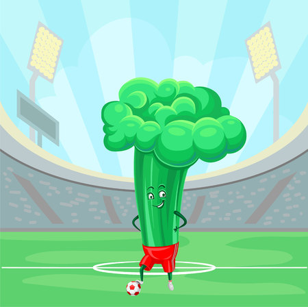 Funny broccoli cabbage soccer on the sport field vector illustration, design element for poster or banner with copy space for text