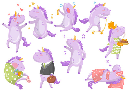 Cute funny unicorn in different poses and situations cartoon vector Illustrations