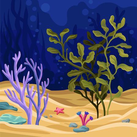 Escena subacuática con algas marinas, ilustración de vector de vida marina, elemento de diseño colorido para cartel o banner.