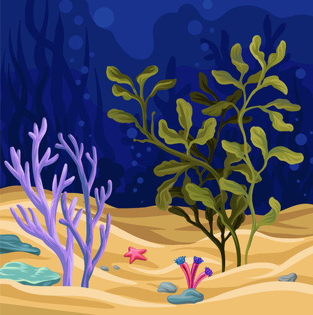 Underwater scene with seaweed, marine life vector illustration, colorful design element for poster or banner.
