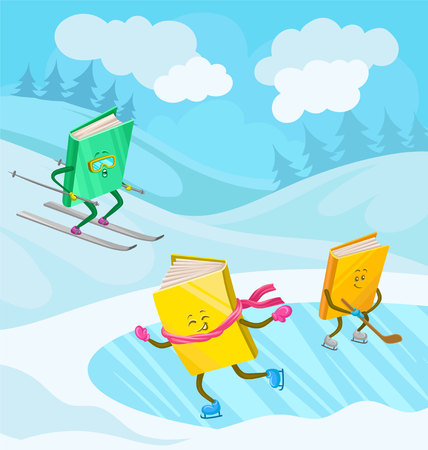 Humanized books characters with smiling faces skiing, skating and playing ice hockey in winter holidays vector illustration.