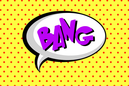 Comic speech bubble with text Bang, layout template with dots pattern on yellow background vector illustration, pop art style, halftone book design Illustration