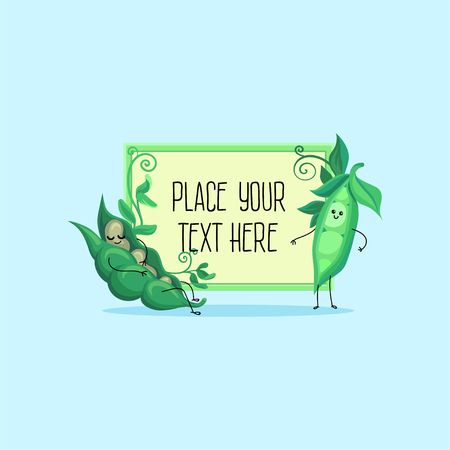 Leuke grappige peul van groene erwten en bonen stripfiguren hoding banner met ruimte voor uw tekst vector illustratie, cartoon stijl Stock Illustratie