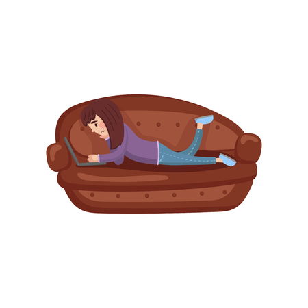 Girl lying on her stomach on a sofa using a laptop computer cartoon vector Illustration on a white background