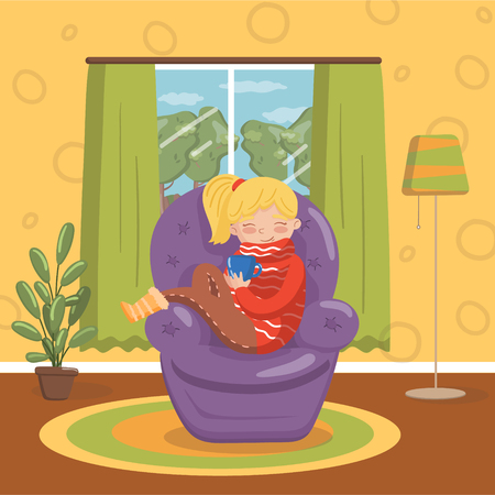 Schönes blondes Mädchen in der warmen Strickjacke, die auf Lehnsessel mit Tasse Tee, Rauminnenweinleseartausgangsvektor Illustration, Karikaturart sitzt