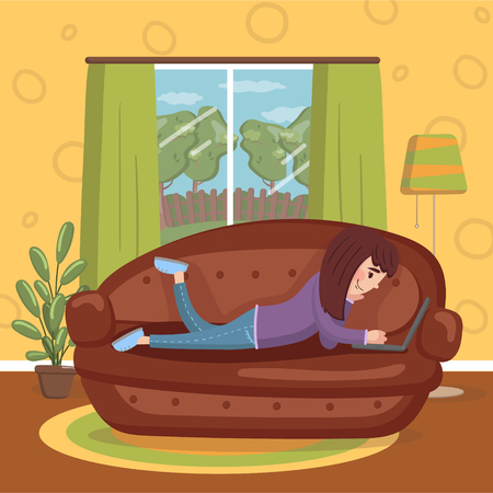 Girl lying on her stomach on a sofa using a laptop computer, room interior vintage style home vector Illustration, cartoon style